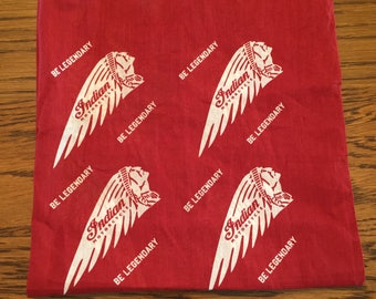 Vintage Red and White INDIAN CHIEF MOTORCYCLE Bandana- Be Legendary