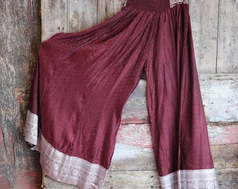 New! JUPITER RED, Flow Pants, Yoga, ATS, Silk Sari, Tribal Fusion, Burning Man, Belly Dance, Bohemian, Barocco Tribal, Festival