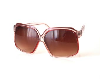 1970s Oversized Sunglasses Red and Pink Boho Style Women's