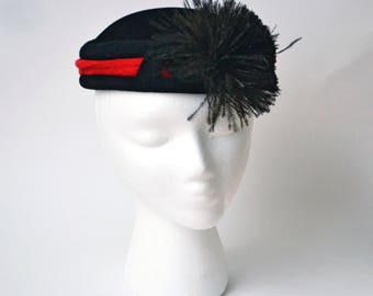 1950s Pillbox Hat Christine Originals Black Velvet Ostrich Plume Red Trim