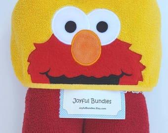Kid's Hooded Towel, Elmo, Character Inspired Hooded Towel, Elmo Bath Towel, Elmo Beach Towel, Seame Street Towel, Toddler Elmo Towel