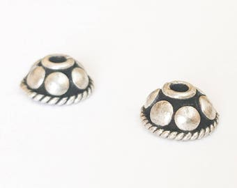 Bali Sterling Silver Bead Caps 9mm with Dots-2pc.