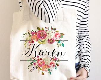 Personalized Tote Bag, Floral Tote Bag, Monogram Tote Bag, Personalised Tote Bag, Bridesmaid Tote Bag, Canvas Tote, Custom Tote bag gift