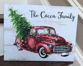 Personalized 11x14 Christmas Truck Canvas Wrap
