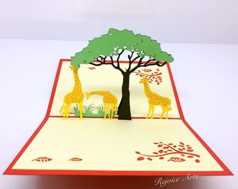 3D Pop Up Giraffe Family Card