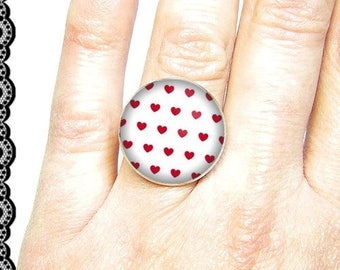 Adjustable ring with cabochon 18 mm * hearts * (070617)