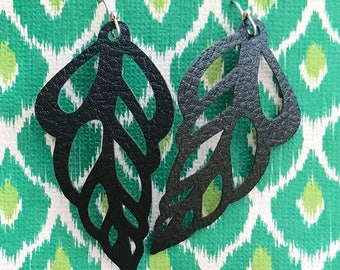 Open Leaf Leather Earring