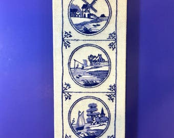 Embroidery Textile Wall Art Erica Wilson Danish 18th Century Tile Design Crewel Blue White Windmill Fishing Boat and House on Frame 1970s