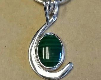 Malachite cabachon set in a modern Sterling Silver Pendant w/ chain.
