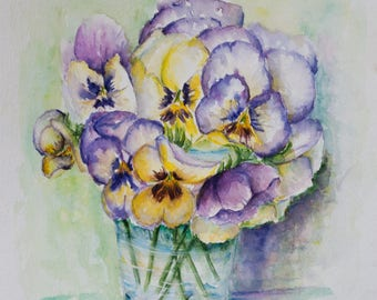 Pansies, violets watercolor, still life painting, pansies painting, original painting, colorful painting, summer flowers,  violets painting