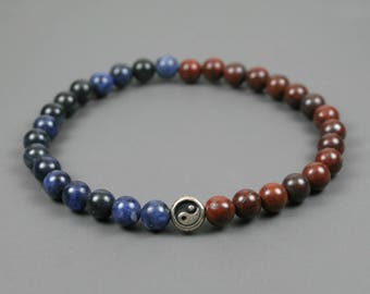 Brecciated jasper and sodalite stacking stretch bracelet with a silver Yin Yang focal bead
