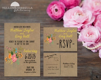 Yellow Rustic Mason Jar Wedding Invitation With RSVP Postcards Envelope Included