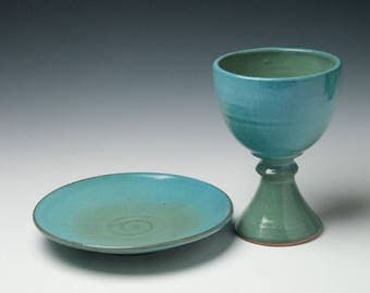 pottery communionware, ceramic chalice and paten set, liturgical vessels