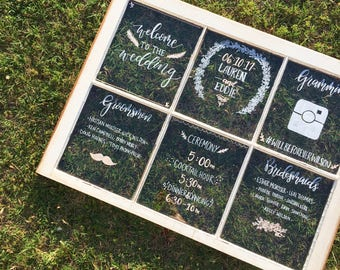 Hand-Lettered Rustic Wedding Window Itinerary // Seating Chart // Customizable // Menu // Wedding Welcome Sign