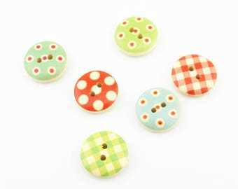 100pcs 15mm Mixed Color Round Wood Buttons Cartoon Wooden Buttons Accessories NK