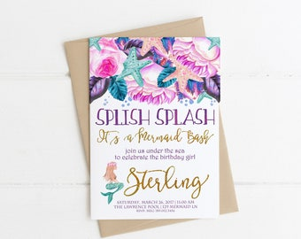 Mermaid Birthday Invitations, Under the Sea, Splish Splash Mermaid Bash, Gold Invite Printable, Swimming Party 1st, 2nd, 3rd, 4th, 5th, 6th