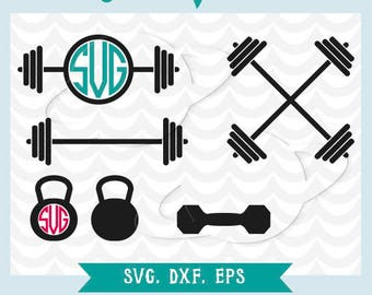 Barbell svg, barbell monogram, barbell dxf, kettlebell svg, kettlebell dxf, kettlebell monogram, dumbbell svg, dumbbell dxf, gym weights