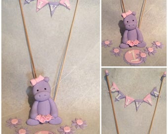 Fondant Hippo with bow, tutu, flowers & banner