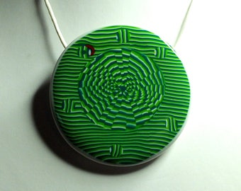 Psychedelic green pendant necklace