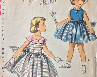 Simplicity 1108 girls dress size 6 vintage 1950's sewing pattern