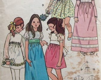 Butterick 6063 girls dress in two lengths size 8 vintage 1970's sewing pattern