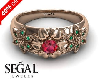 Victorian Engagement Ring Rose Gold Flower Ring Unique Engagement Ring Red Ruby Ring Designer Ring Victorian Engagement Ring - Emma