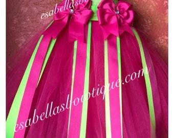 Green and pink tutu bow holder;bow holder;tutu bow holder;girl hair accessories;green bow holder