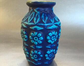 """Vintage 6"""" West German Blue Pottery Vase"""