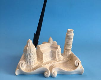 Italian Monuments Cast Marble Pen Holder Stand Vintage