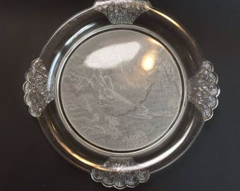 Etched Frosted Round Glass Serving Platter