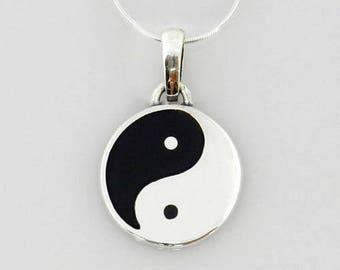 Yin yang pendant etsy larger silver yin yang pendantsilver black onyx yin yang pendantblack onyx inlay aloadofball Choice Image