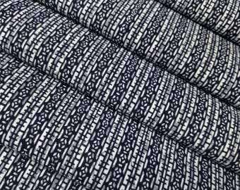 Indigo blue cotton yukata fabric - by the yard - indigo and white abstract pattern