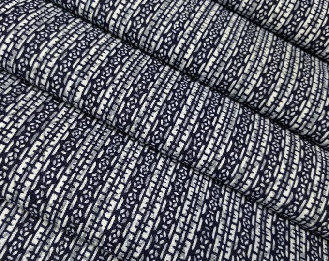 Featured listing image: Indigo blue cotton yukata fabric - by the yard - indigo and white abstract pattern