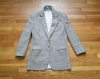 Vintage Womens Size 8 Medium Large Orvis Houndstooth Plaid Sport Coat Jacket Blazer Cream Tan Holidays