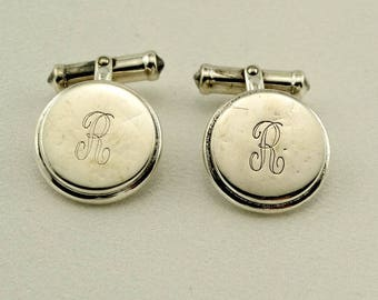 "Vintage Engraved Initial ""R"" Silver Cufflinks. Free Shipping! #R2-CL"