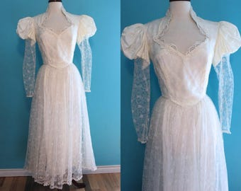80's Wedding Dress     80's White Lace Victorian Style Midi Length Wedding Dress