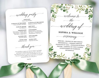Rustic Greenery Wedding Fan Program, Printable Wedding Fan Program Template, Fan Wedding Programs, DIY Wedding Programs, Meadow