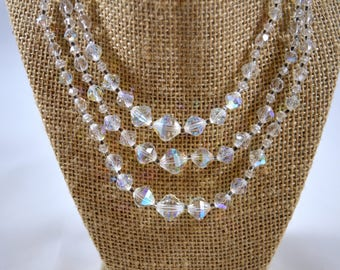 Vintage Crystal Aurora Borealis Three Strand Necklace Faceted Clear Crystal Beads Special Occasion Necklace AB Necklace