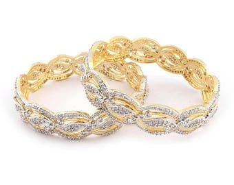 VALENTINE DAY SALE 2 Pcs 24 Ct Gold Plated Cubic Zirconia Bangle - Best Quality 24 Ct Gold Plated Bangle Size:2.25 Cz037