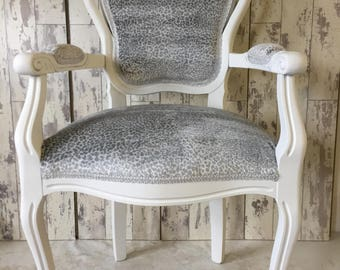 Animal Print Louis Style Chair French Shabby Chic