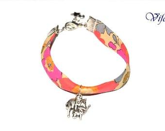 Greyand orange liberty, Elephant and its baby pendant