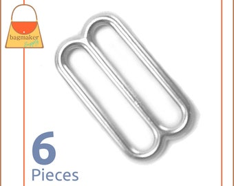 "1.5 Inch Slides for Purse Straps, 6 Pieces, Nickel Finish, Handbag Bag Making Supplies, 1-1/2 Inch, 1.5"", 1-1/2"", BKS-AA014"