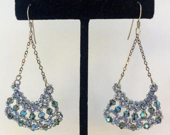 Pale Grey opalescent beaded earrings hand crafted from Japanese glass seed beads, Swarovski crystals, and Sterling Silver