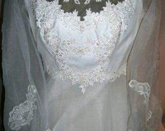 lace wedding dress - white wedding dress - lace wedding gown - vintage wedding dress - 80s wedding gown