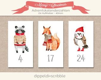 Advent Calendar Number Stickers