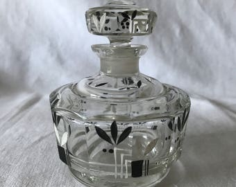 Art Deco Crystal Perfume Bottle Black and white Enameled Deco Pattern Exceptional vanity home decor collectible display ground stopper