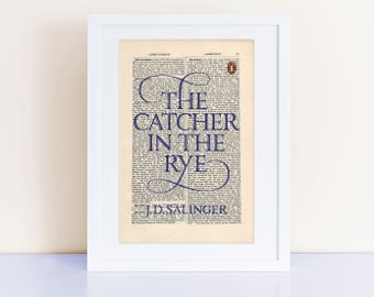 The Catcher in the Rye by JD Salinger Print on an antique page, book cover art