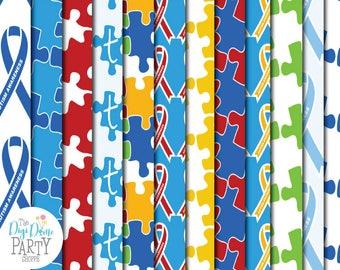 Autism Digital Scrapbooking Papers, Proceeds to Charity. Instant Download