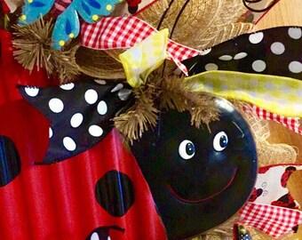Burlap Deco Mesh Ladybug Wreath