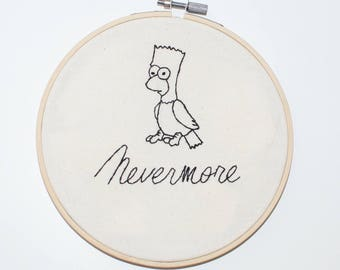 Bart Simpson Raven Embroidery Art. Home Decor. wall art. hoop art. gothic home decor. Embroidery hoop. hand embroidery. Simpsons embroidery.